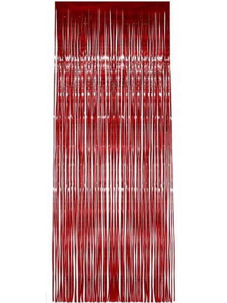 Занавес металл h=2 м w=1 м на скотче цвет красный HS-3-1