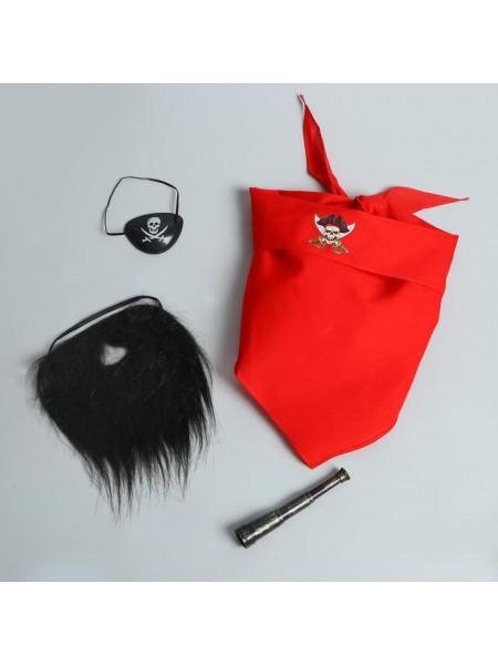Набор карнавальный взрослый Черная борода бандана. наглазник подзорная труба борода