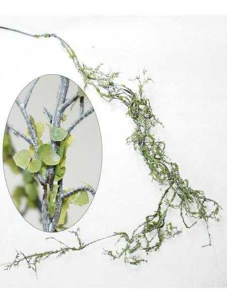 Лиана с листьями заснеженная 146 см пластик цвет коричневый/зеленый/белый HS-2-18