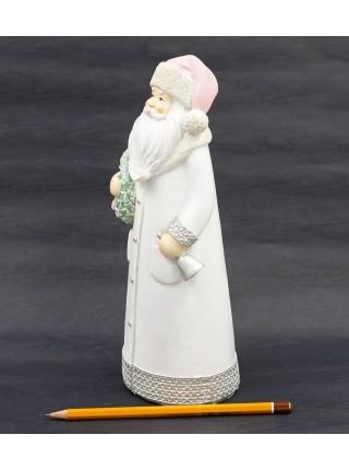 Дед Мороз в розовой шапочке h=24,5 см керамика цвет белый HS-16-5