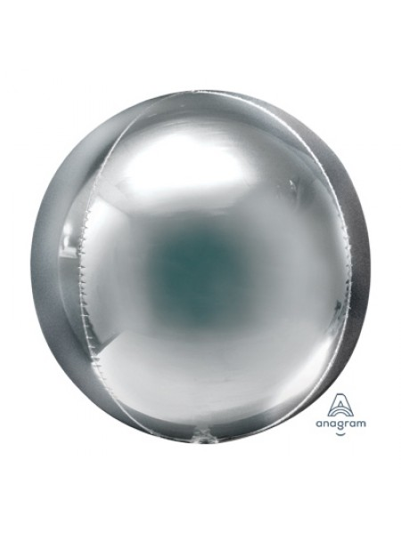 "Фольга шар 3D Сфера б/рис 21""/52,5 см металлик Silver"
