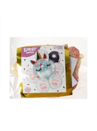 Букет шаров Единорог с конфетти набор 7 шт латекс/конфетти