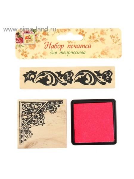 Набор Цветочный печать 5,3 х 5,3 печать 10,3 х 2,3 см штемпельная подушка 5 х 5 см набор 3 шт