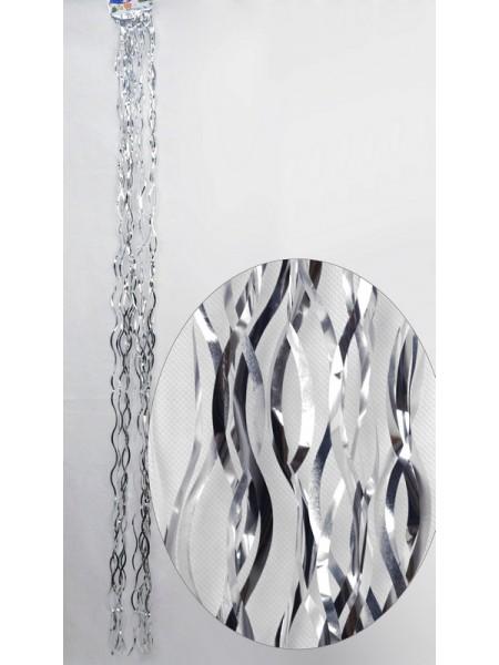 Дождик волна простой 1,5 м цвет серебрянный HS-15-6
