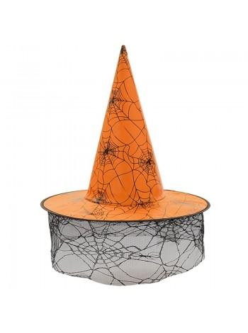 Шляпа ведьмы с вуалью d=18/39 см h=33 см HS-36-17