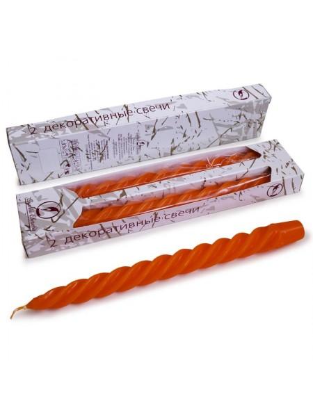 Свеча витая упаковка 2 шт цвет оранжевый