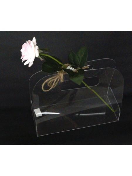 Акриловый бокс-сумка для цветов  23 х 28 х 11,5 см