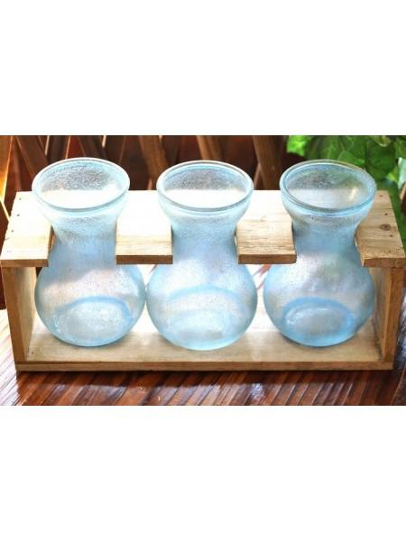 Набор 3 вазы в деревянной раме Синий иней  14,5 х 29,5 см