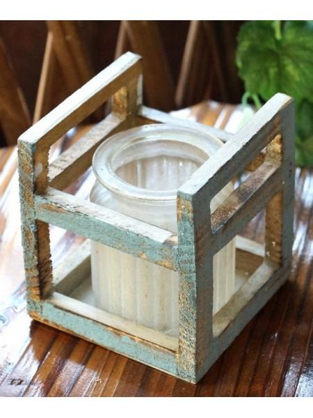 Баночка ребристая в деревянной раме Белый иней  11,5 х 10,5 см