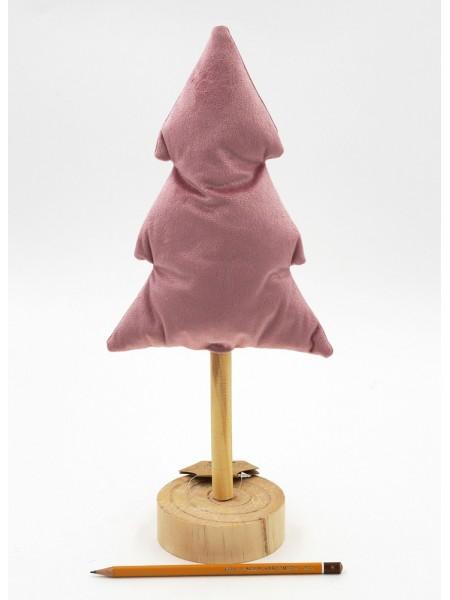 Елка 38 см мягкая  велюр/дерево на подставке цвет розовый HS-35-6