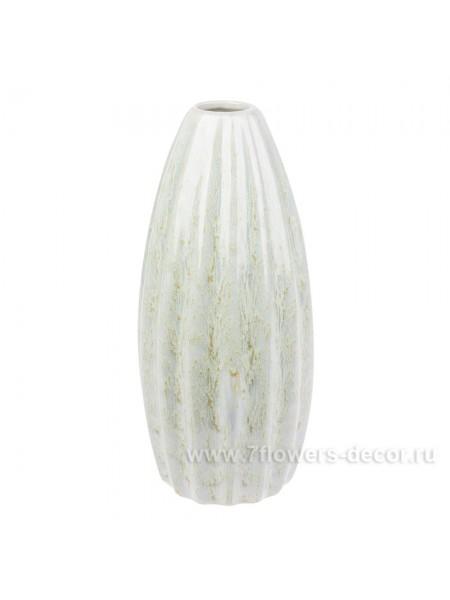 Ваза керамика рельефная 13 х Н30 см цвет голубой арт. 30356-30