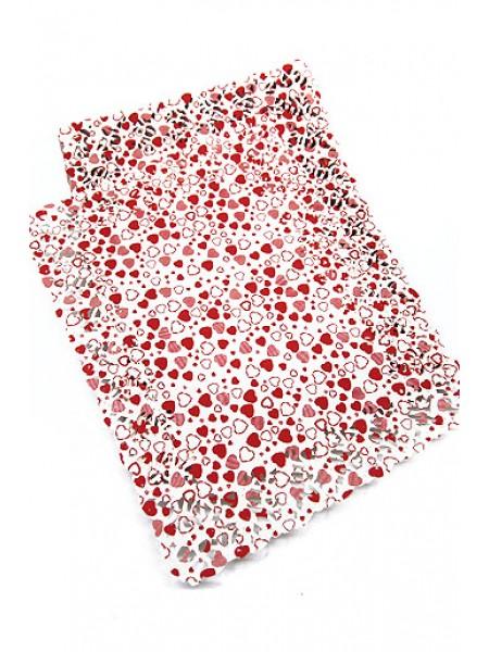 Салфетки ажурные цветные 301/0130 х 40 см 1/250 прямоугольная красные сердечки