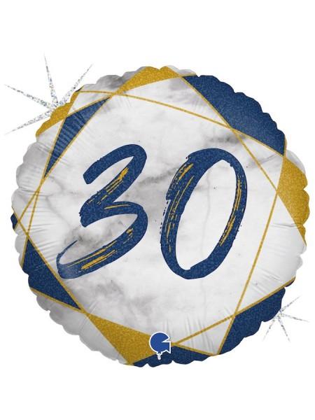 """Фольга шар круг 30 цифра Мрамор Калакатта синий голография 18""""/46 см"""