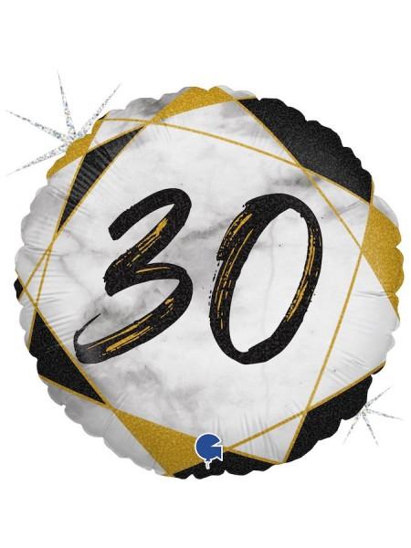 "Фольга шар круг 30 цифра Мрамор Калакатта черный голография 18""/46 см"