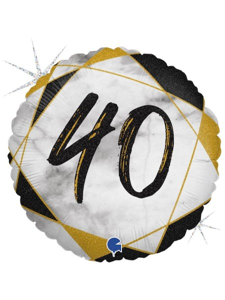 Фольга шар круг 40 цифра Мрамор Калакатта черный голография 18