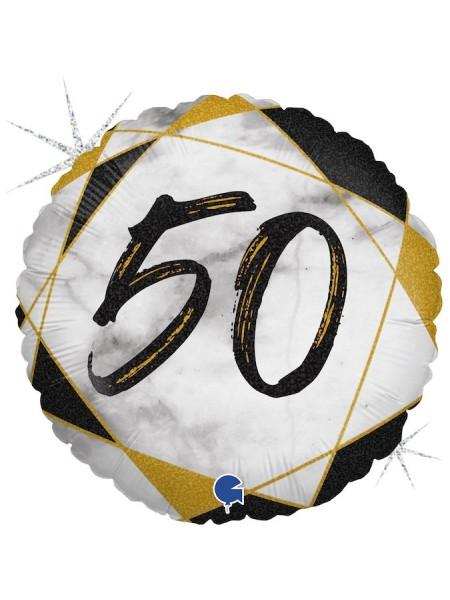"Фольга шар круг 50 цифра Мрамор Калакатта черный голография 18""/46 см"