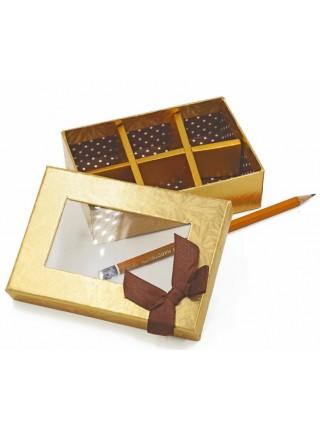 Коробка для конфет на 6 шт 13 х 9 х 4 см с окошком HS-7-33