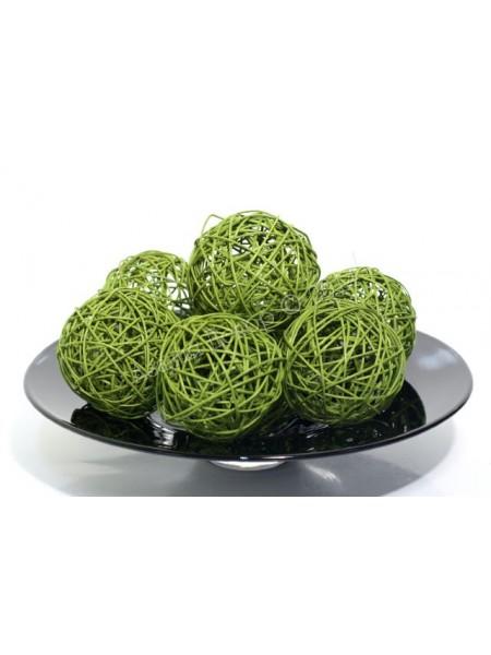 Шар плетеный ротанг D10 см набор 6 шт цвет Зеленый