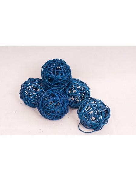 Шар плетеный ротанг D10 см набор 6 шт цвет Синий