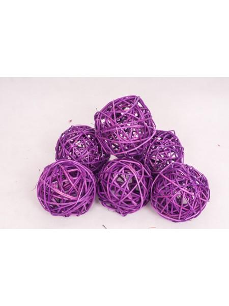Шар плетеный ротанг D10 см набор 6 шт цвет Фиолетовый