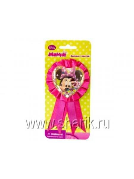 Значок Disney Минни Маус  с розовой лентой