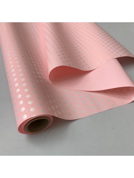 Пленка матовая в горошек Фаворит 50 см х 10 м 50 мкр светло-розовый/белый горох